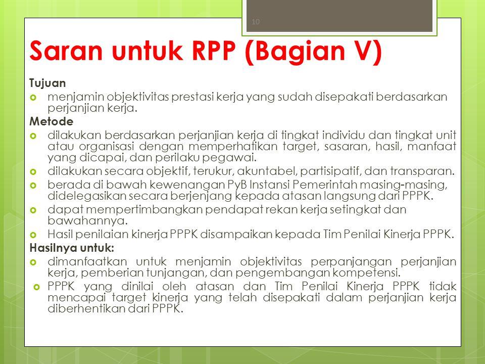 Saran untuk RPP (Bagian V)