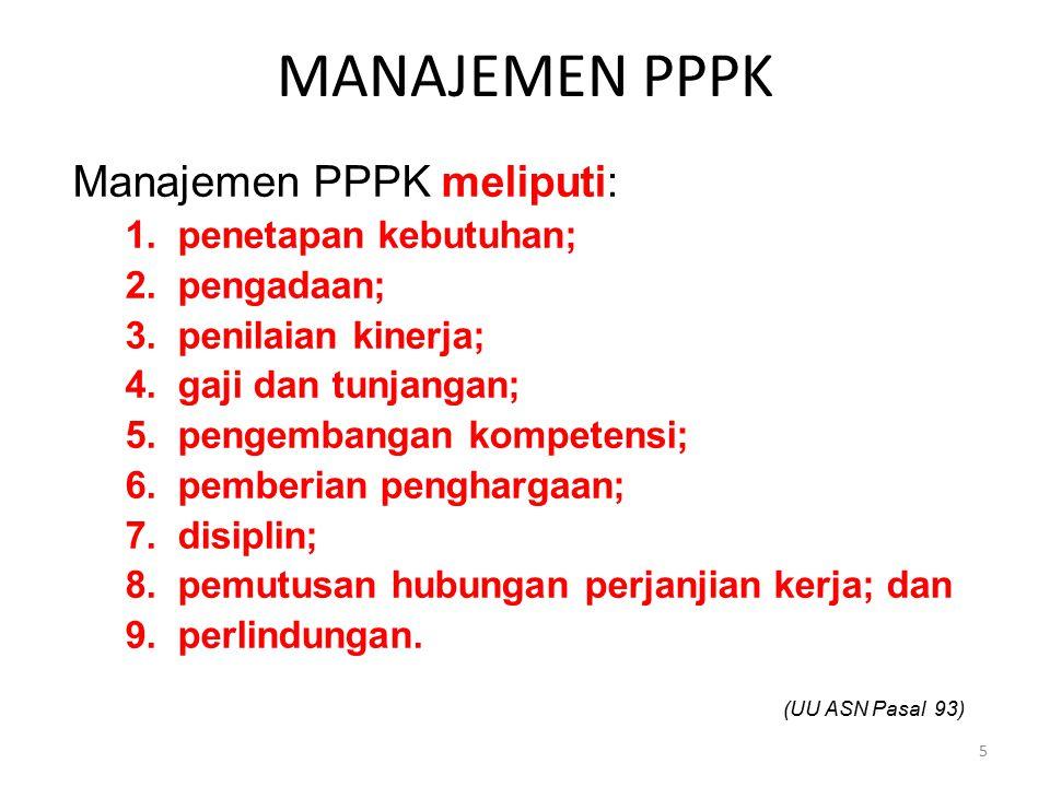 Manajemen PPPK Manajemen PPPK meliputi: penetapan kebutuhan;