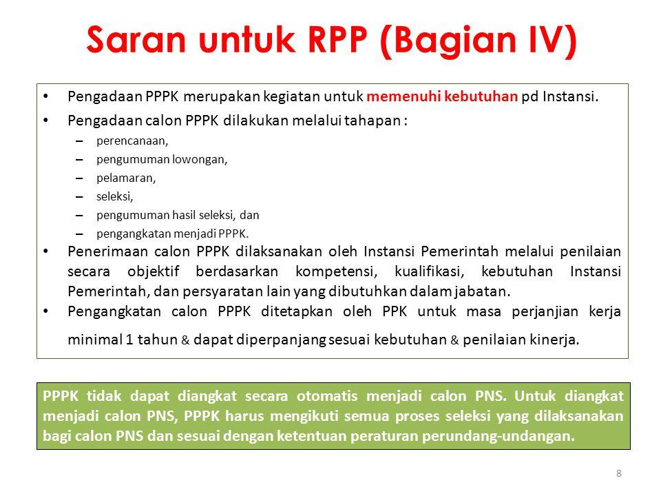 Saran untuk RPP (Bagian IV)