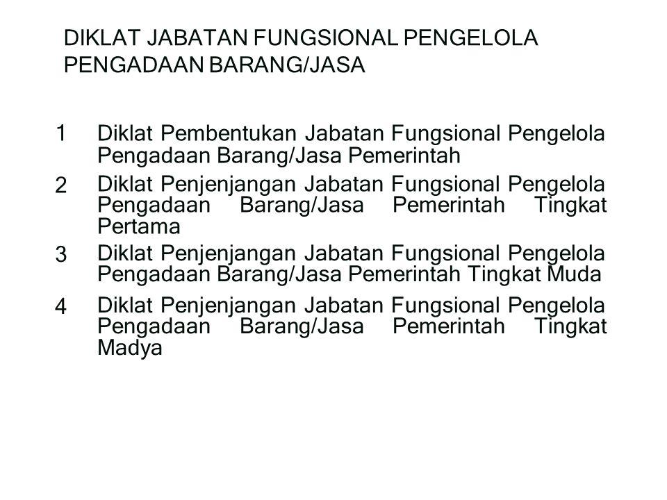 DIKLAT JABATAN FUNGSIONAL PENGELOLA PENGADAAN BARANG/JASA