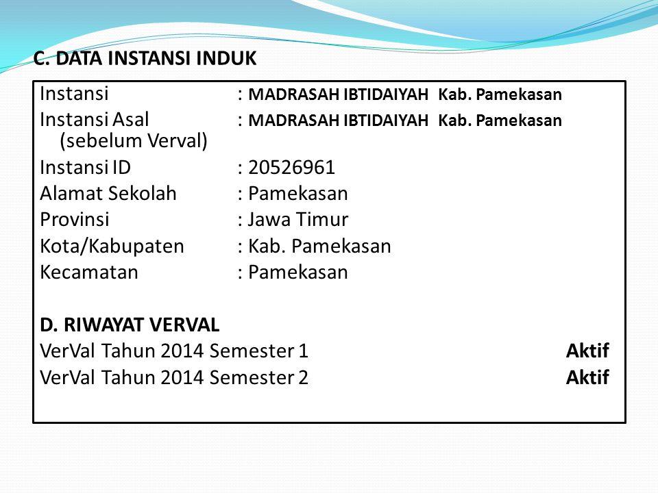 C. DATA INSTANSI INDUK Instansi : MADRASAH IBTIDAIYAH Kab. Pamekasan.