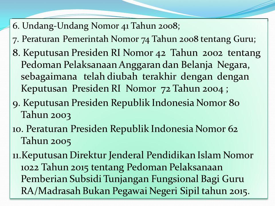 9. Keputusan Presiden Republik Indonesia Nomor 80 Tahun 2003