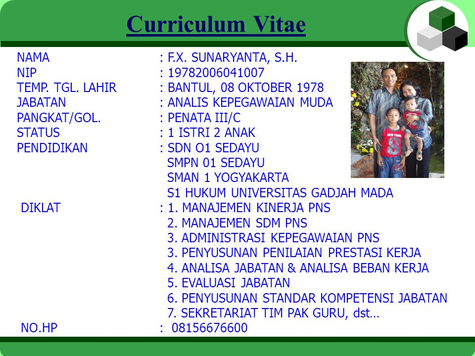 Curriculum Vitae NAMA : F.X. SUNARYANTA, S.H. NIP : 19782006041007