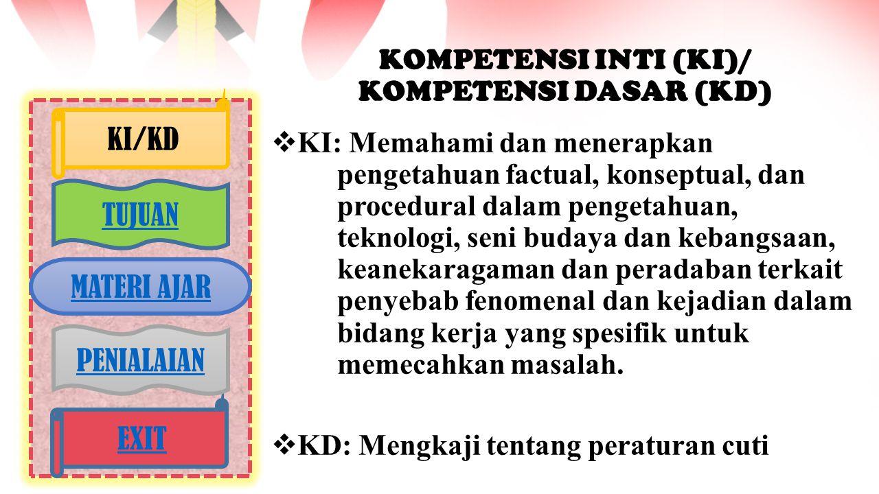 KOMPETENSI INTI (KI)/ KOMPETENSI DASAR (KD)