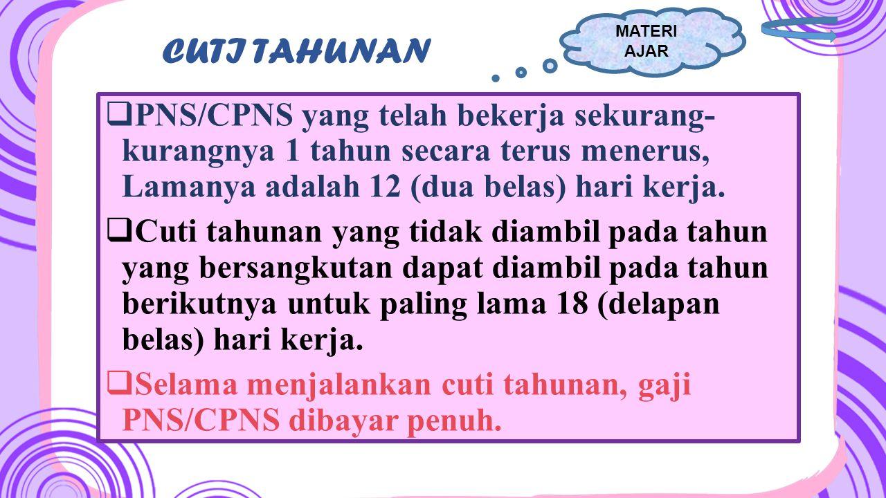 MATERI AJAR CUTI TAHUNAN. PNS/CPNS yang telah bekerja sekurang- kurangnya 1 tahun secara terus menerus, Lamanya adalah 12 (dua belas) hari kerja.