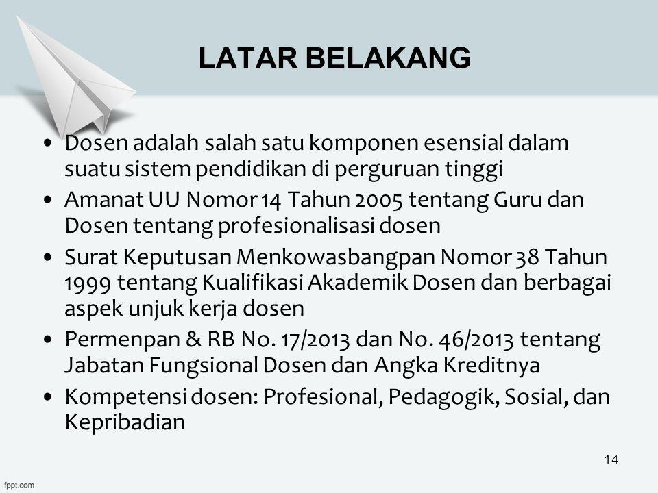LATAR BELAKANG Dosen adalah salah satu komponen esensial dalam suatu sistem pendidikan di perguruan tinggi.