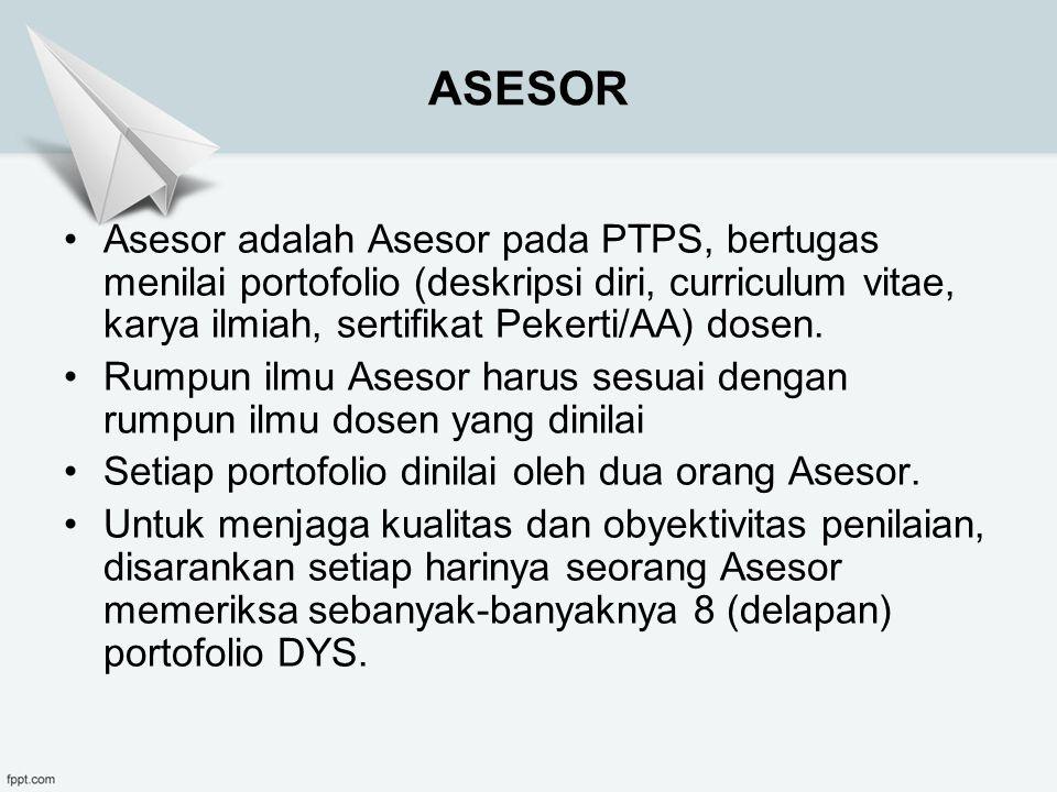 ASESOR Asesor adalah Asesor pada PTPS, bertugas menilai portofolio (deskripsi diri, curriculum vitae, karya ilmiah, sertifikat Pekerti/AA) dosen.