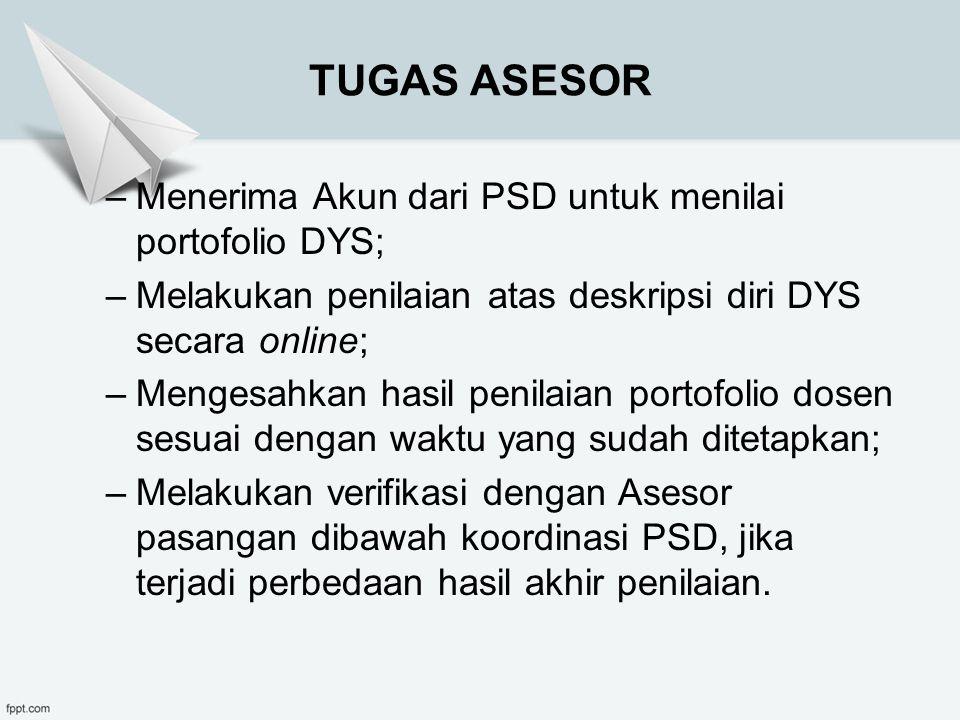 TUGAS ASESOR Menerima Akun dari PSD untuk menilai portofolio DYS;
