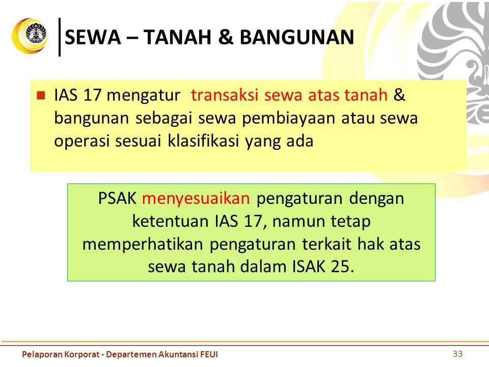 SEWA – TANAH & BANGUNAN IAS 17 mengatur transaksi sewa atas tanah & bangunan sebagai sewa pembiayaan atau sewa operasi sesuai klasifikasi yang ada.