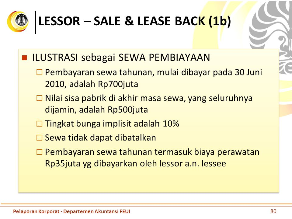 LESSOR – SALE & LEASE BACK (1b)