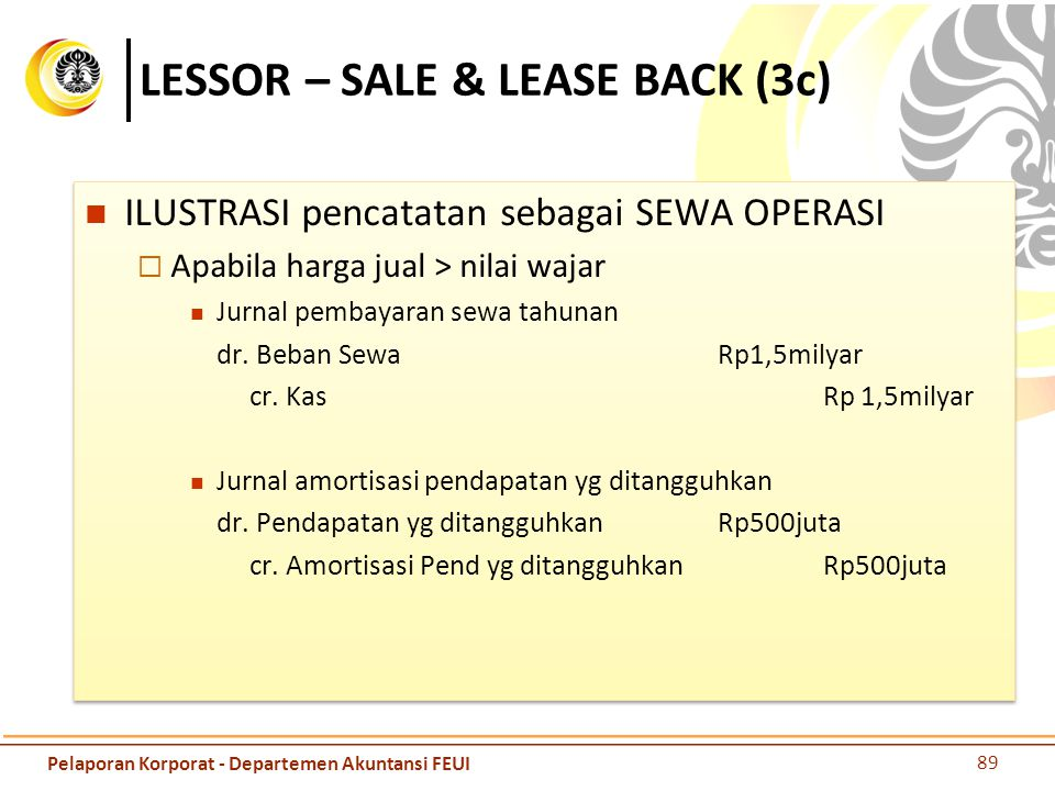 LESSOR – SALE & LEASE BACK (3c)