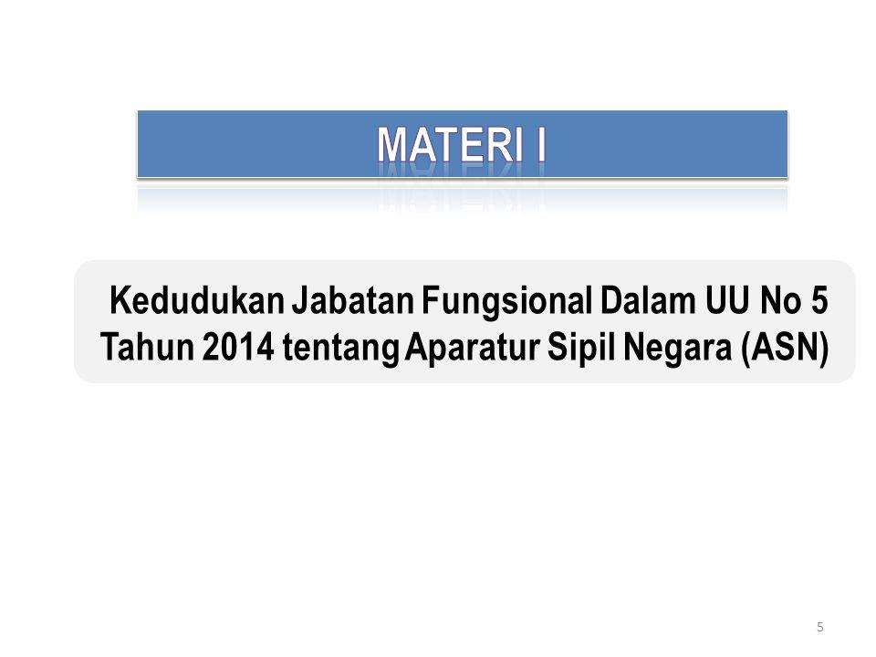 MATERI I Kedudukan Jabatan Fungsional Dalam UU No 5 Tahun 2014 tentang Aparatur Sipil Negara (ASN)