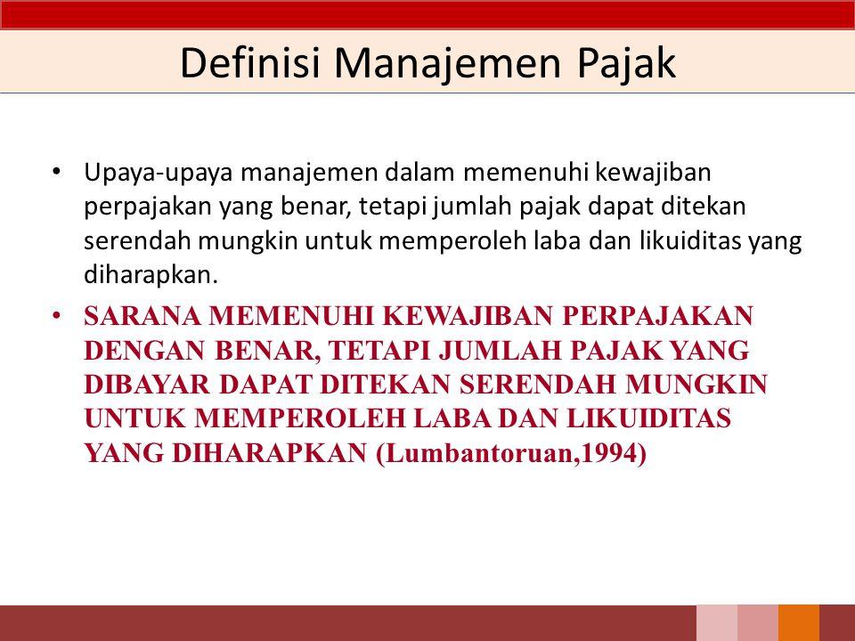 Definisi Manajemen Pajak