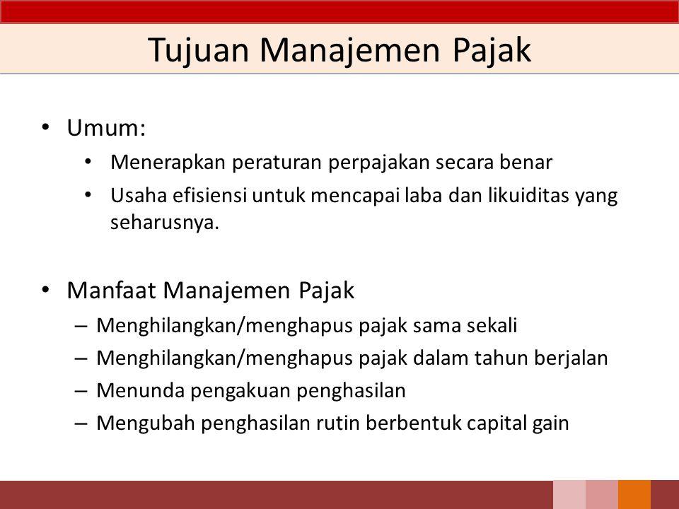 Tujuan Manajemen Pajak