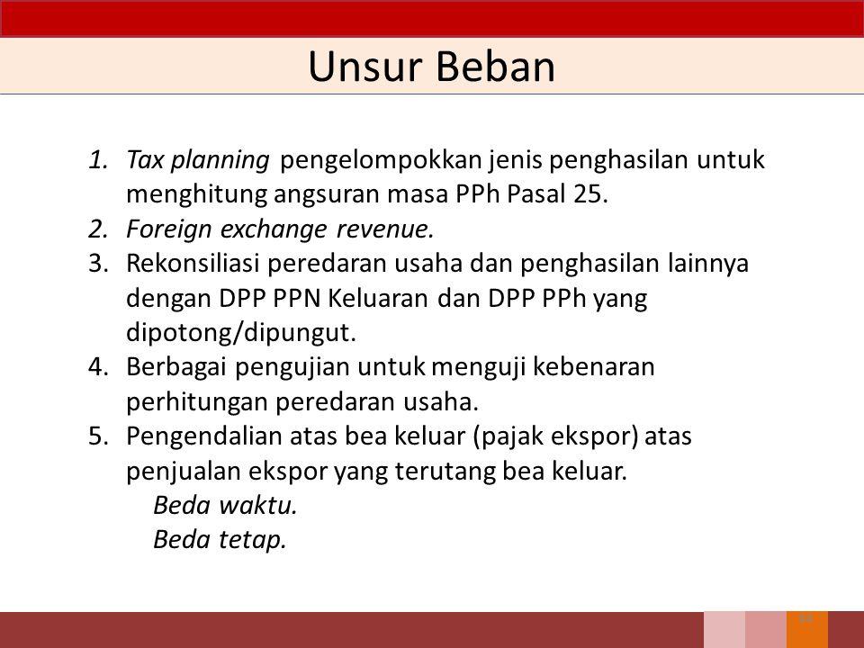 Unsur Beban Tax planning pengelompokkan jenis penghasilan untuk menghitung angsuran masa PPh Pasal 25.