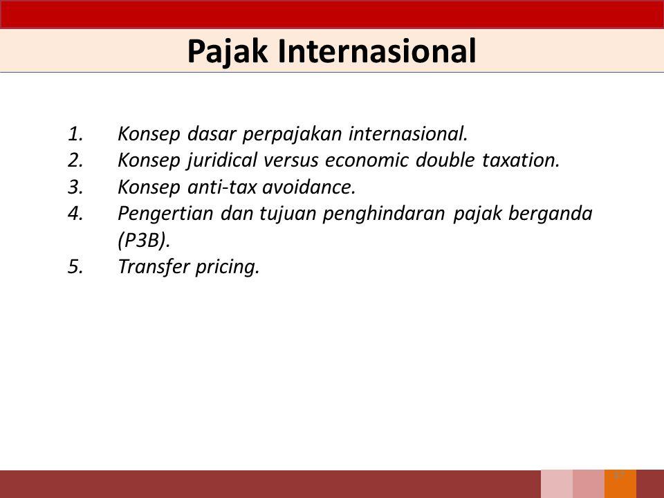 Pajak Internasional 1. Konsep dasar perpajakan internasional.