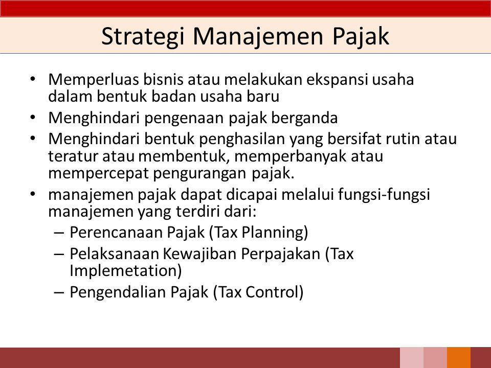 Strategi Manajemen Pajak