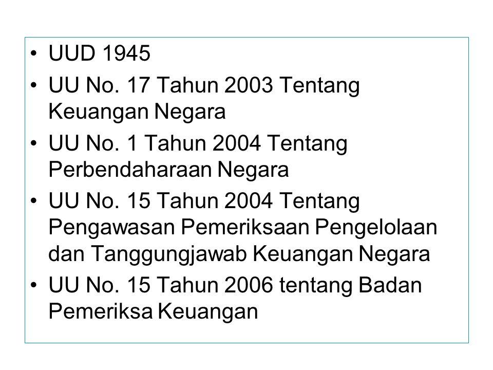 UUD 1945 UU No. 17 Tahun 2003 Tentang Keuangan Negara. UU No. 1 Tahun 2004 Tentang Perbendaharaan Negara.