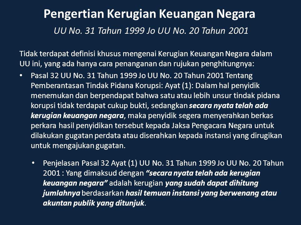 Pengertian Kerugian Keuangan Negara UU No. 31 Tahun 1999 Jo UU No