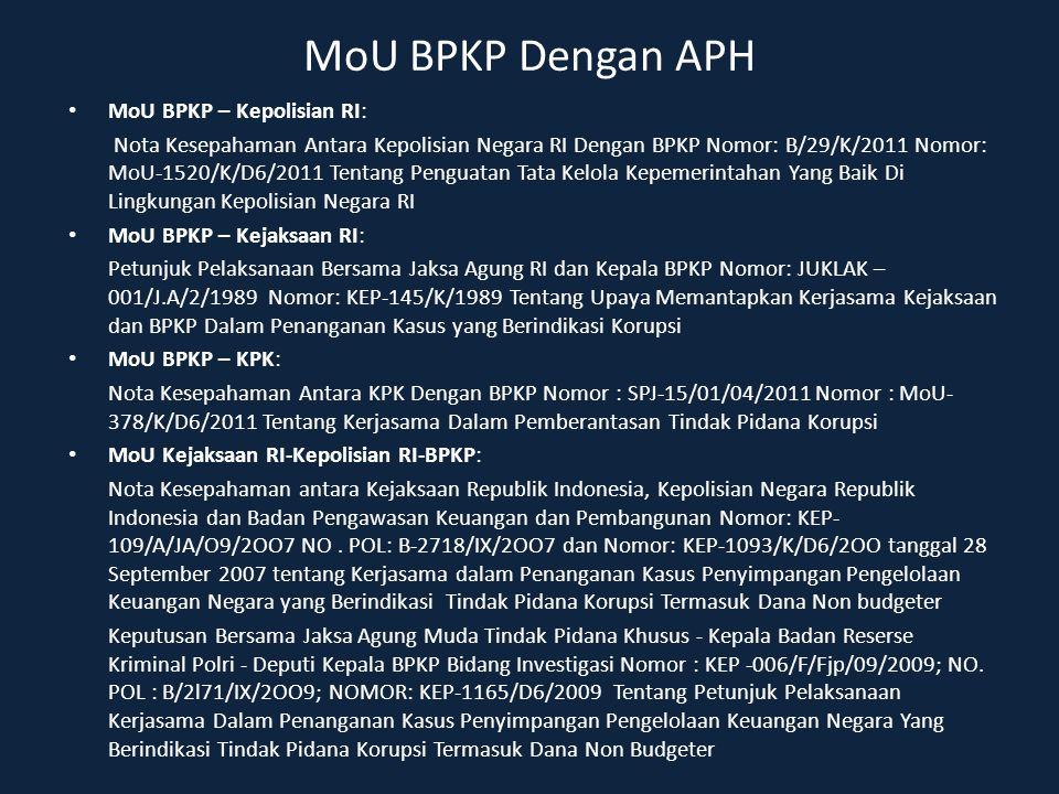 MoU BPKP Dengan APH MoU BPKP – Kepolisian RI: