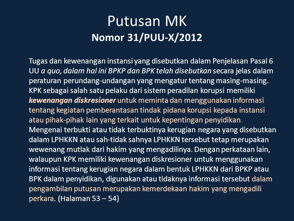 Putusan MK Nomor 31/PUU-X/2012