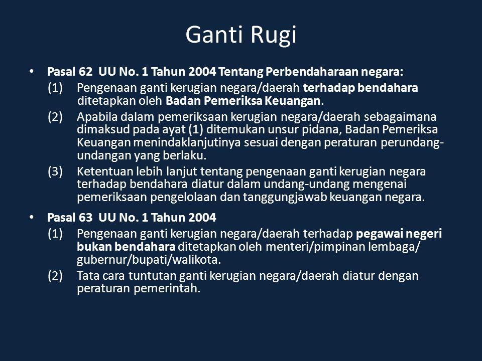 Ganti Rugi Pasal 62 UU No. 1 Tahun 2004 Tentang Perbendaharaan negara: