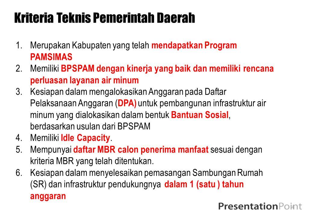 Kriteria Teknis Pemerintah Daerah