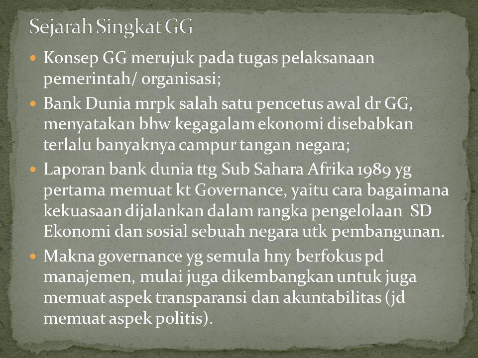 Sejarah Singkat GG Konsep GG merujuk pada tugas pelaksanaan pemerintah/ organisasi;