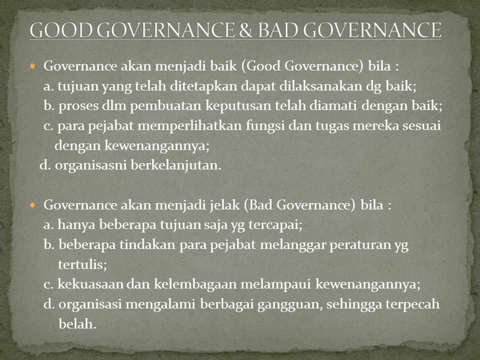 GOOD GOVERNANCE & BAD GOVERNANCE