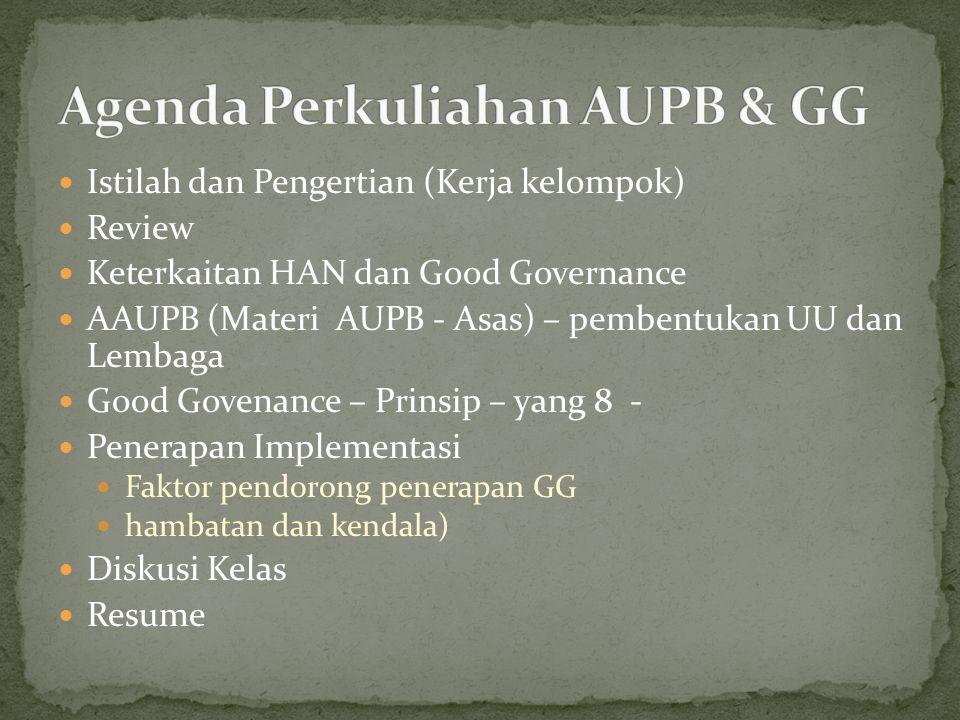 Agenda Perkuliahan AUPB & GG