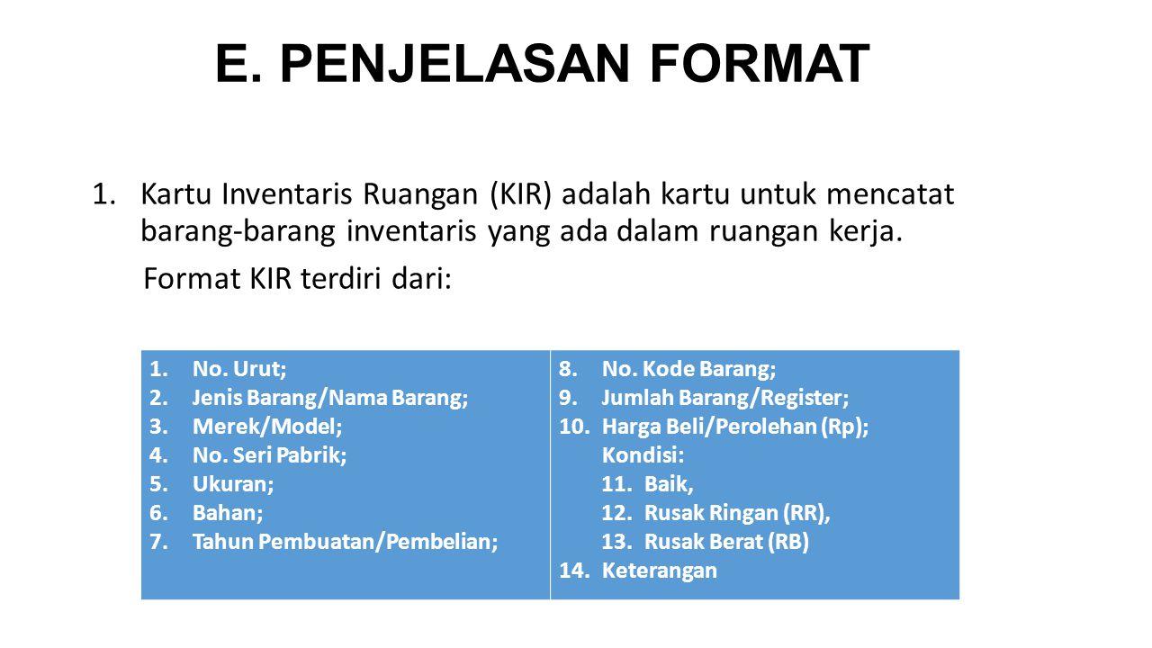 E. PENJELASAN FORMAT Kartu Inventaris Ruangan (KIR) adalah kartu untuk mencatat barang-barang inventaris yang ada dalam ruangan kerja.