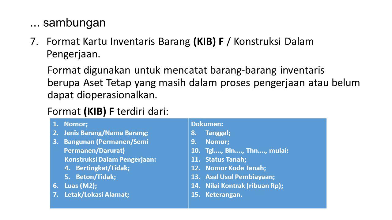 ... sambungan Format Kartu Inventaris Barang (KIB) F / Konstruksi Dalam Pengerjaan.