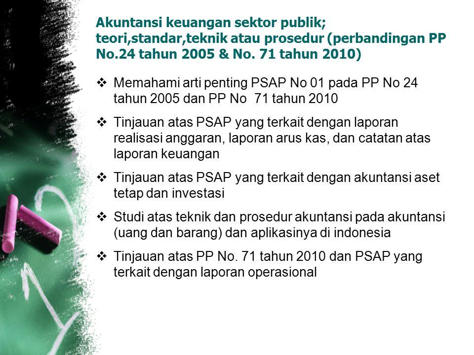 Akuntansi keuangan sektor publik; teori,standar,teknik atau prosedur (perbandingan PP No.24 tahun 2005 & No. 71 tahun 2010)