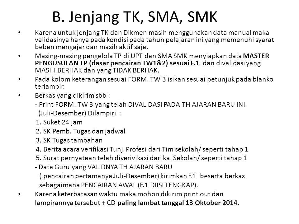 B. Jenjang TK, SMA, SMK