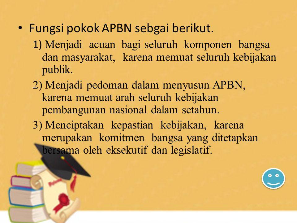 Fungsi pokok APBN sebgai berikut.