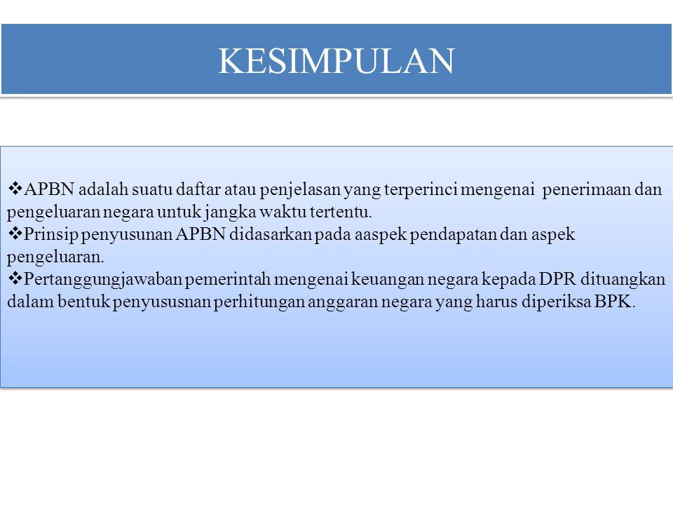 KESIMPULAN APBN adalah suatu daftar atau penjelasan yang terperinci mengenai penerimaan dan pengeluaran negara untuk jangka waktu tertentu.