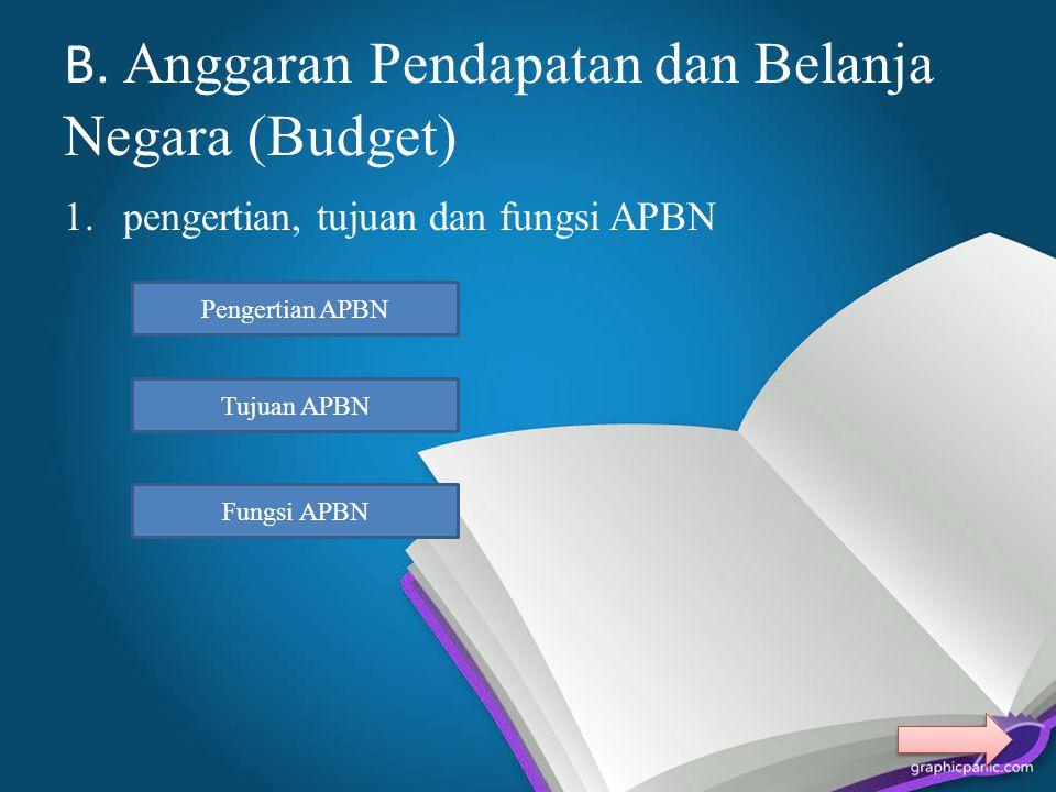 B. Anggaran Pendapatan dan Belanja Negara (Budget)