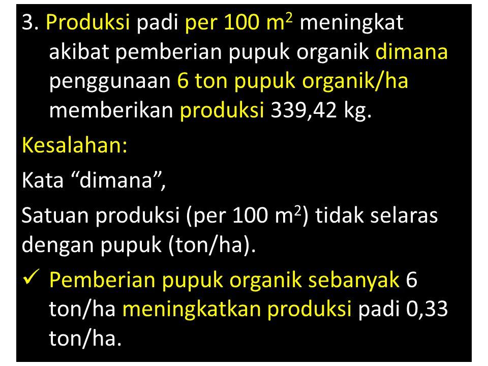 3. Produksi padi per 100 m2 meningkat akibat pemberian pupuk organik dimana penggunaan 6 ton pupuk organik/ha memberikan produksi 339,42 kg.