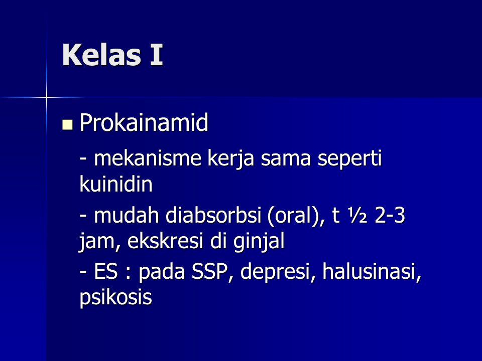 Kelas I Prokainamid - mekanisme kerja sama seperti kuinidin