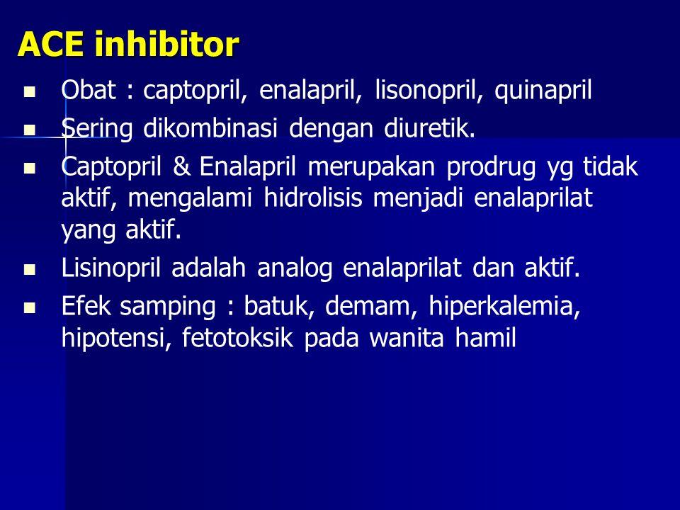 ACE inhibitor Obat : captopril, enalapril, lisonopril, quinapril