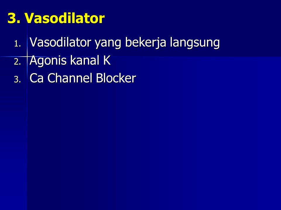 3. Vasodilator Vasodilator yang bekerja langsung Agonis kanal K