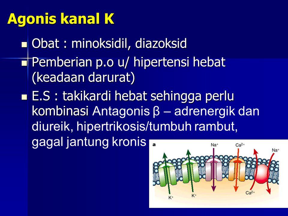 Agonis kanal K Obat : minoksidil, diazoksid