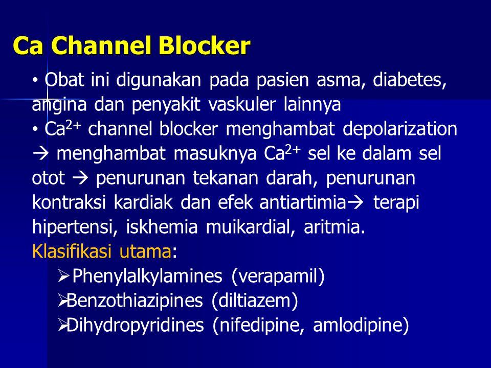 Ca Channel Blocker Obat ini digunakan pada pasien asma, diabetes, angina dan penyakit vaskuler lainnya.
