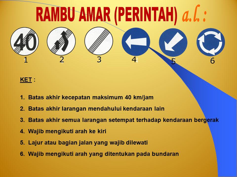 a.l. : RAMBU AMAR (PERINTAH) 1 2 3 4 5 6 1 2 3 4 5 6 KET :