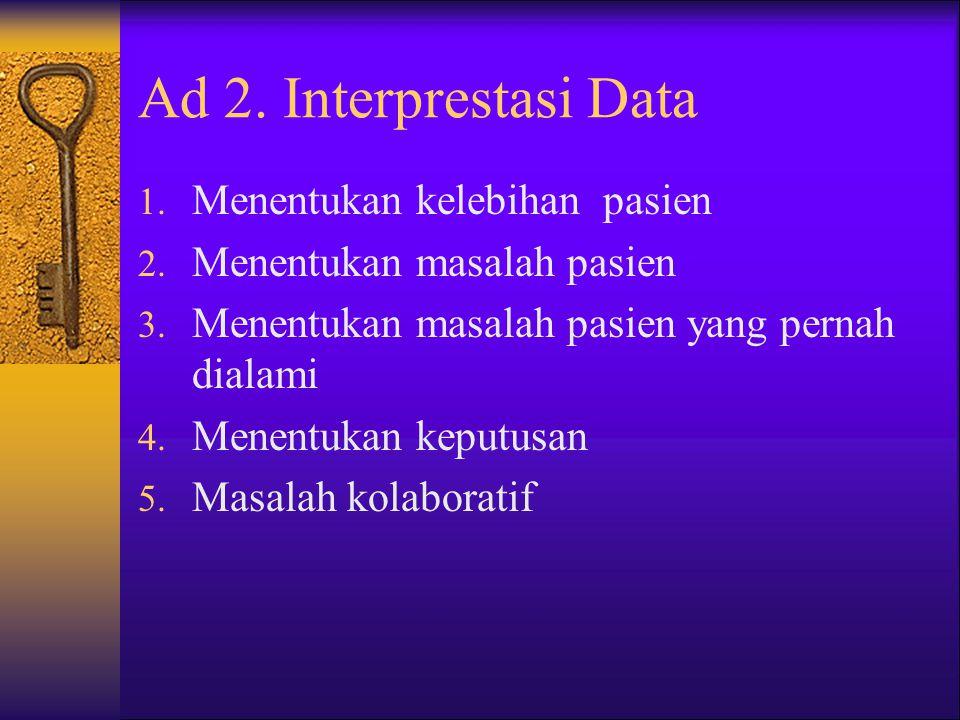Ad 2. Interprestasi Data Menentukan kelebihan pasien