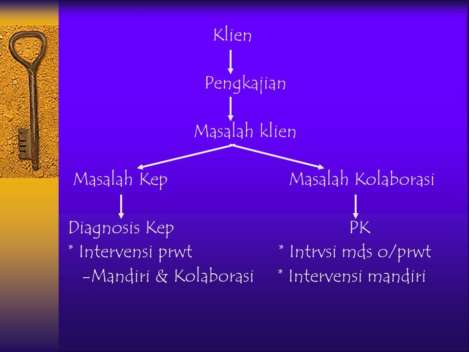 Klien Pengkajian. Masalah klien. Masalah Kep Masalah Kolaborasi. Diagnosis Kep PK.