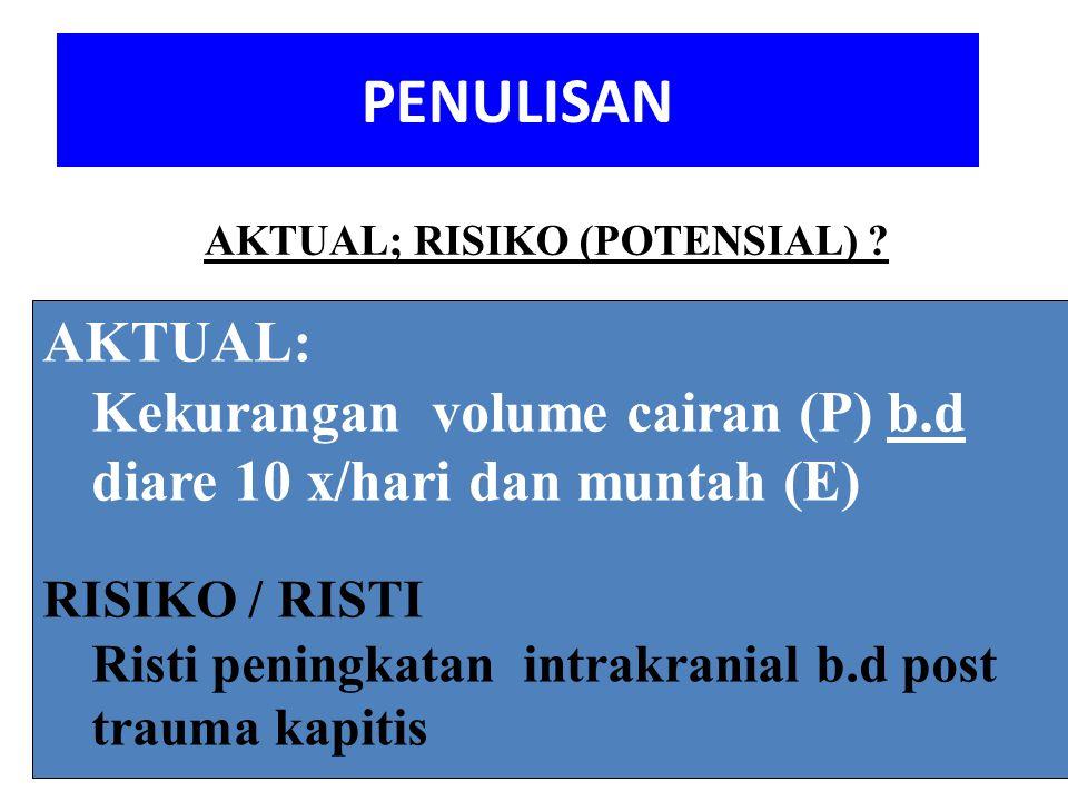 PENULISAN AKTUAL; RISIKO (POTENSIAL) AKTUAL: Kekurangan volume cairan (P) b.d diare 10 x/hari dan muntah (E)