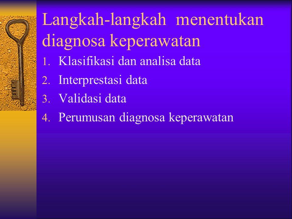 Langkah-langkah menentukan diagnosa keperawatan