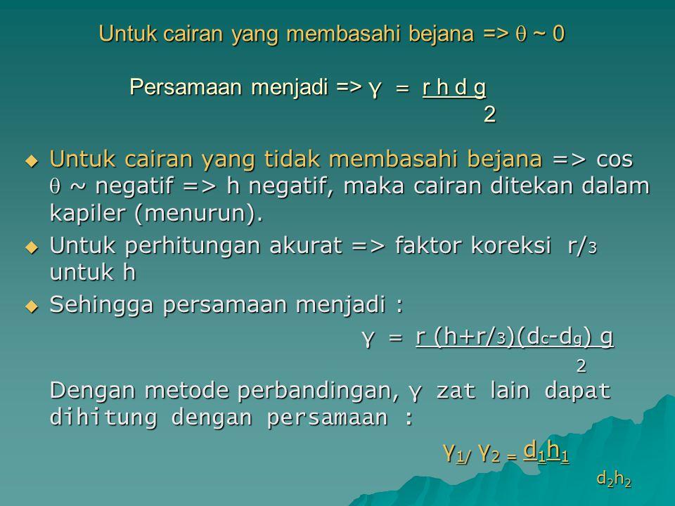 Untuk perhitungan akurat => faktor koreksi r/3 untuk h