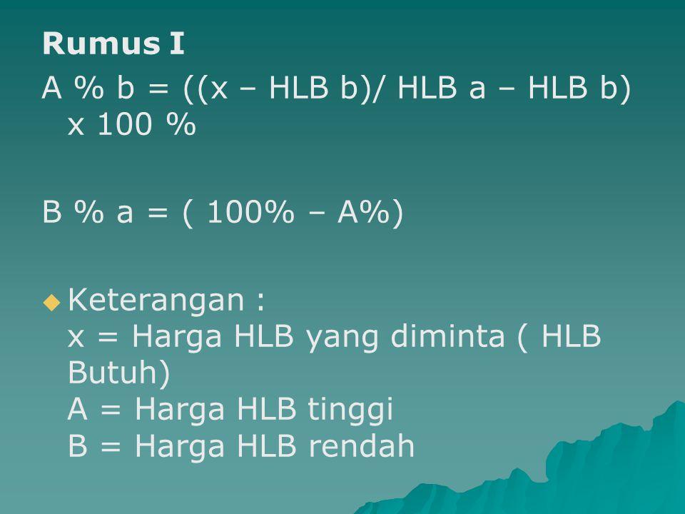 Rumus I A % b = ((x – HLB b)/ HLB a – HLB b) x 100 % B % a = ( 100% – A%)